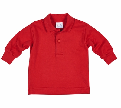 Florence Eiseman Boys Cotton Polo Shirt - Long Sleeves - Red