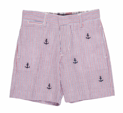Florence Eiseman Boys Navy Blue / Red Seersucker Shorts - Embroidered Anchors