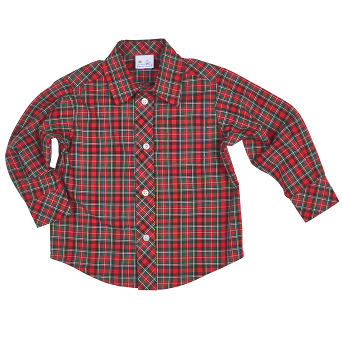 florence eiseman boys red christmas plaid dress shirt