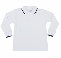 Florence Eiseman Boys White Cotton Polo Shirt - Long Sleeves - Navy Blue Tipping