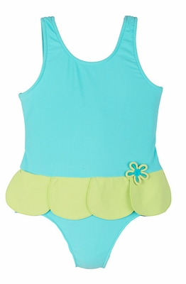 Florence Eiseman Girls Aqua Blue / Green Petal Skirt Bathing Suit