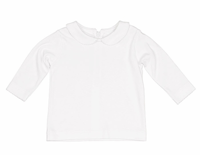 Florence Eiseman Girls Basic White Cotton Knit Blouse - Peter Pan Collar Picot Trim - Long Sleeves