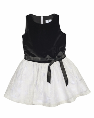 Florence Eiseman Girls Black Stretch Velvet / Ivory Burnout Holiday Party Dress
