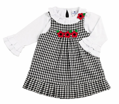 Florence Eiseman Girls Black / White Check Jumper with Blouse