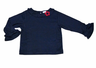 Florence Eiseman Girls Blouse - Navy Blue with Red Flower