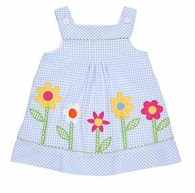 Florence Eiseman Girls Blue Check Seersucker Dress with Flower Pops