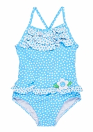 Florence Eiseman Girls Blue Dots Ruffle Bathing Suit with Tie Back