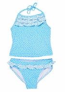 Florence Eiseman Girls Blue Dots Ruffle Tankini Swimsuit
