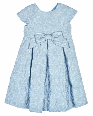 Florence Eiseman Girls Blue Floral Jacquard Party Dress with Bow - Special Edition!