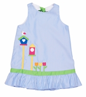 Florence Eiseman Girls Blue Pincord Dress with Bird Houses