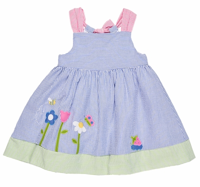 Florence Eiseman Girls Blue / Pink Seersucker Garden Scene Dress