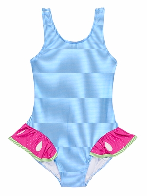 Florence Eiseman Girls Blue Stripe / Pink Watermelon Ruffle Swimsuit