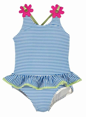 Florence Eiseman Girls Blue Striped Seersucker Ruffle Swimsuit