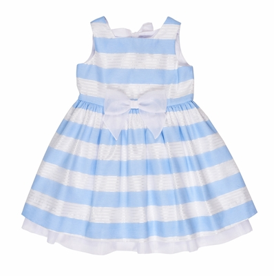 Florence Eiseman Girls Blue / White Ribbon Stripe Organza Dress with Bows on Back