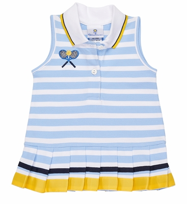 Florence Eiseman Girls Blue / White Striped Sleeveless Tennis Dress