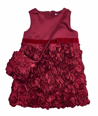 Florence Eiseman Girls Burgundy Wine Satin Holiday Party Dress with Petals & Purse