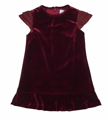 Florence Eiseman Girls Burgundy Stretch Velvet / Chiffon Holiday Party Dress