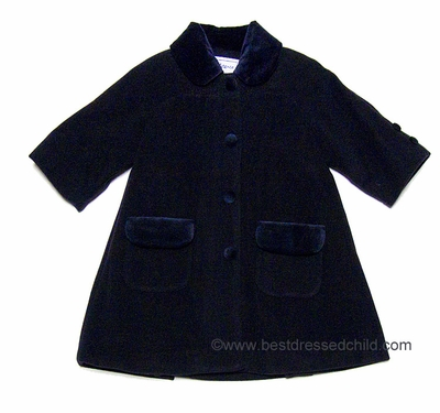 83a94716a317 Florence Eiseman Girls Classic Navy Blue Wool   Cashmere Dress Coat with  Raglan Sleeve and Velvet Trim