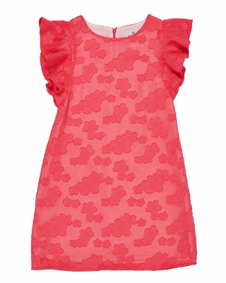 Florence Eiseman Girls Coral Chiffon Lace Dress with Flutter Sleeves