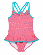 Florence Eiseman Girls Coral Confetti Dots Cross Strap Ruffle Swimsuit