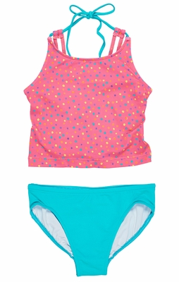 Florence Eiseman Girls Coral Confetti Dots / Turquoise Blue Tankini Bathing Suit