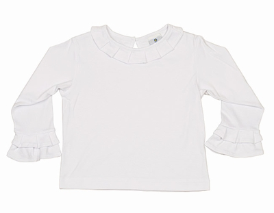 Florence Eiseman Girls Dressy White Knit Blouse - Fluted Cuffs & Collar