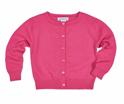 Eiseman Girls Fuchsia Hot Pink Cotton Cardigan Sweater