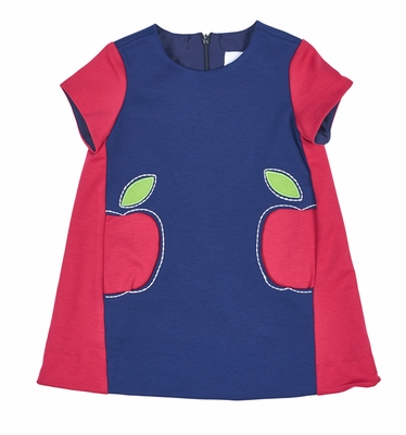 Florence Eiseman Girls Fuchsia Pink / Royal Blue Ponte Dress with Apple Pockets