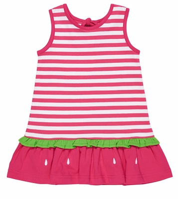 Florence Eiseman Girls Fuchsia Pink Striped Knit Watermelon Ruffle Dress