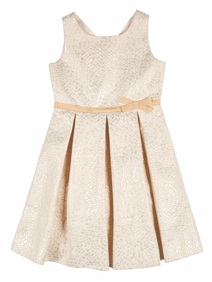 Florence Eiseman Girls Gold Jacquard Holiday Party Dress with Bow