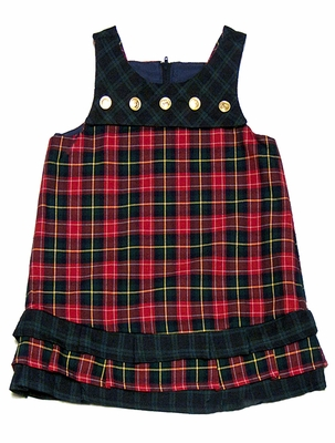 Florence Eiseman Girls Holiday Red Plaid / Navy Blue Plaid REVERSIBLE Yoke Jumper Dress