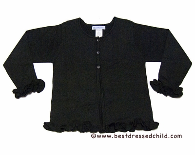 Florence Eiseman Girls Knit Black Sweater with Ruffle Sleeves
