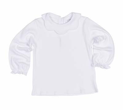 Florence Eiseman Girls Knit Blouse with Scallop Collar - White