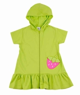 Florence Eiseman Girls Knit Cover Up with Hood - Pink Strawberry