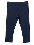 Florence Eiseman Girls Knit Leggings - Navy Blue