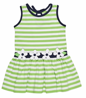Florence Eiseman Girls Lime Green Stripe Knit Dress with Flowers