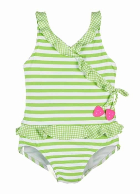 Florence Eiseman Girls Lime Green Striped Ruffle Swimsuit with Strawberry