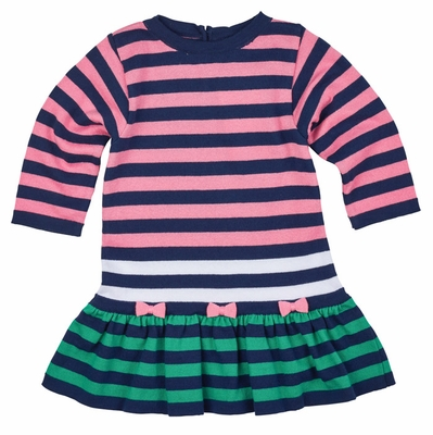 Florence Eiseman Girls Navy Blue / Pink / Green Striped Sweater Knit Dress with Bows
