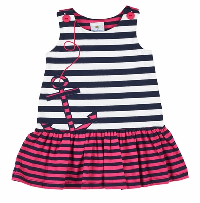 Florence Eiseman Girls Navy Blue / White / Hot Pink Striped Knit Dress with Anchor
