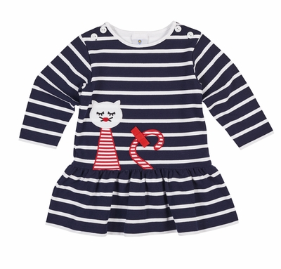 Florence Eiseman Girls Navy Blue Striped Pique Knit Dress with Red Cat
