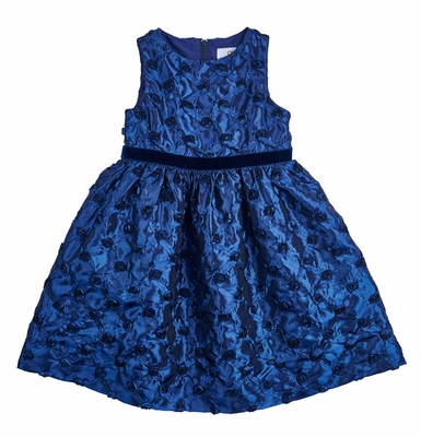 Florence Eiseman Girls Navy Blue Taffeta Rosettes Party Dress