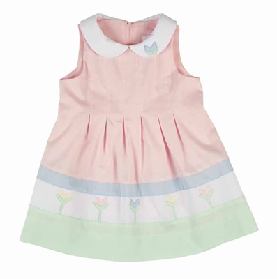 Florence Eiseman Girls Pastel Pink / Blue / Green Finewale Pique Tulips Dress