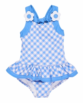 Florence Eiseman Girls Periwinkle Blue Check Ruffle Bathing Suit