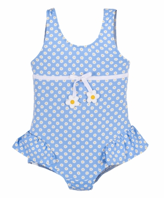 Florence Eiseman Girls Periwinkle Blue Daisy Print Skirted Swimsuit with Flowers