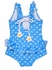 Florence Eiseman Girls Periwinkle Blue / White Dots Ruffle Swimsuit with Flowers