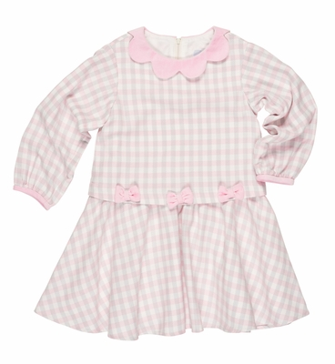 Florence Eiseman Girls Pink / Ivory / Gray Check Popover Dress with Bows