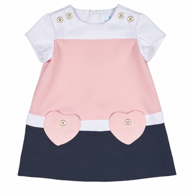Florence Eiseman Girls Pink / Navy Blue Dress with Heart Pockets