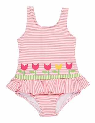 Florence Eiseman Girls Pink Seersucker Swimsuit with Tulips