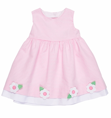 Florence Eiseman Girls Pink Stripe Sleeveless Dress with Flowers