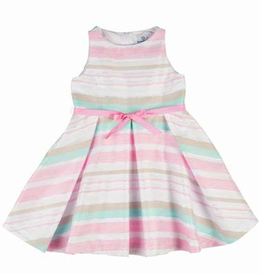 Florence Eiseman Girls Pink / White / Aqua Stripe Organza Linen Blend Dress